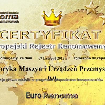 2013 Certyfikat Eurorenoma
