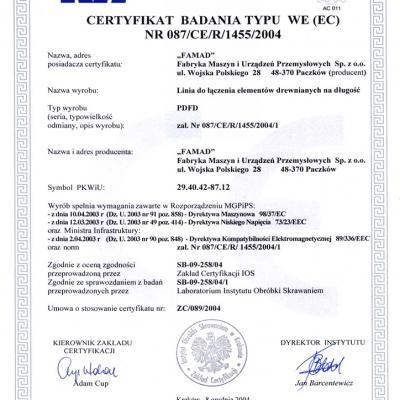 Certyfikat Badania Typu We Ec
