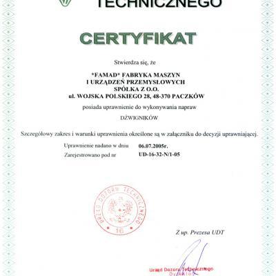 Certyfikat Dozoru Technicznego 1