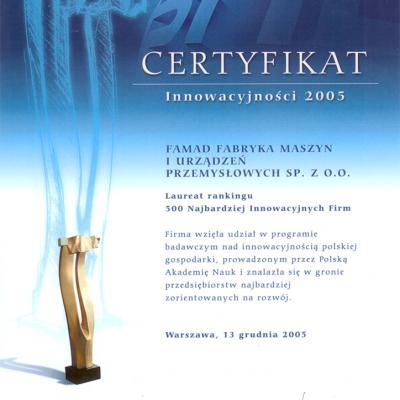 Certyfikat Inowacyjnoci