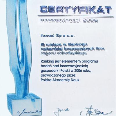 Certygikat 2006 Innowacyjno